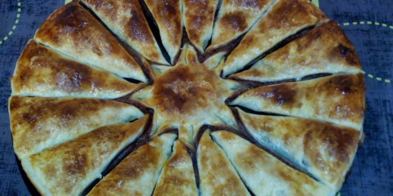 Torta de hojaldre rellena de Nocilla y crema catalana